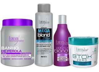Banho Pérola, Mega Blond Black, Shampoo Platinum, Btox Zero