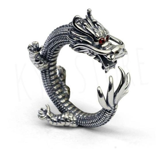 Anillo Dragon Ojos Rojos Plata Ley .925 Original