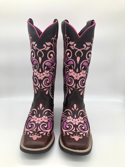 Bota Country Texana West Country Rosa Com Brilho