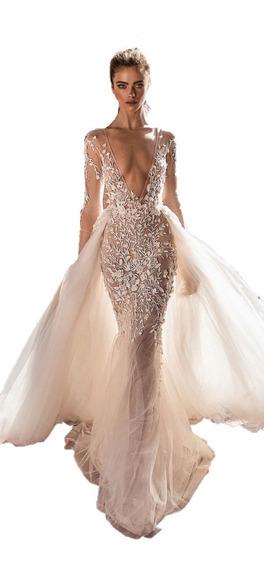 Vestido Sexy L Novia Boda Casamiento Formal Fiesta Noche Gala Moda Mujer Verano Transparencias Bordado Encaje Escote V