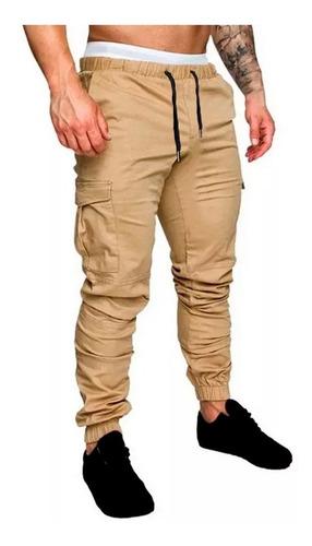 Imagen 1 de 5 de Pantalones Cargo Hombre Gabardina Bolsillos Jogger Jogging