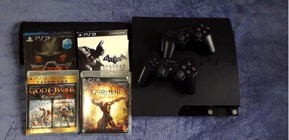 Console Playstation 3 Slim 160gb Com 2 Controles + 8 Jogos (sendo 4 Em Mídia Digital)!