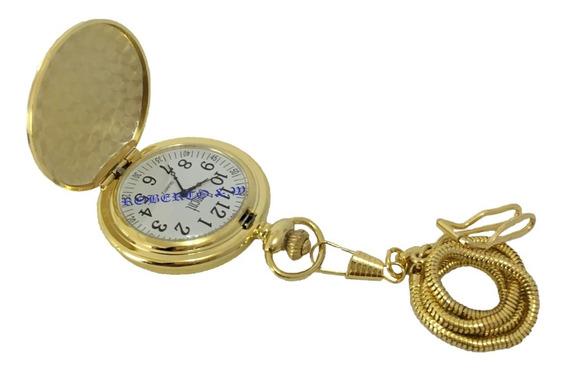 Relógio De Bolso Quartz Dourado Metal Polido Tom Dourado