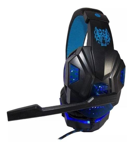 Fone de ouvido gamer Exbom HF-G390P4 azul e luz led