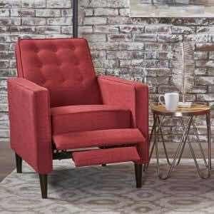 Sillón Reclinable De Poliéster Color Rojo Mervynn