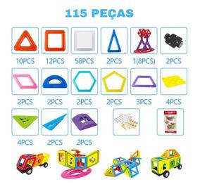 Brinquedo Blocos Magnéticos 115 Pcs Mini Jogo Educativo