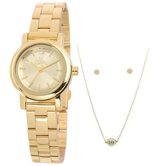 Relógio Allora Feminino Dourado + Colar Brincos Original Nf