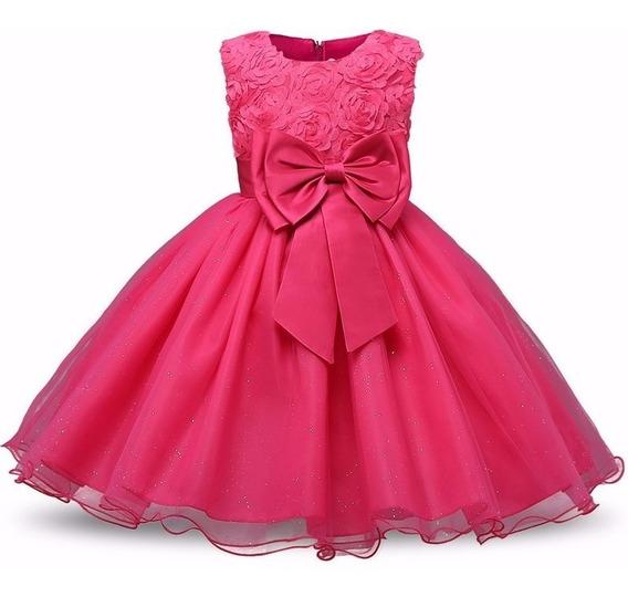 Vestido Infantil - Festa - Dama - Batizado - Rosa Pink