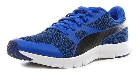 Tenis Puma Flexracer Knit Azul Correr Running Caballero