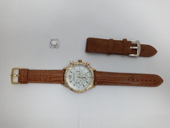 Relógio Masculino Barato Dourado Pulseira De Couro + Brinde