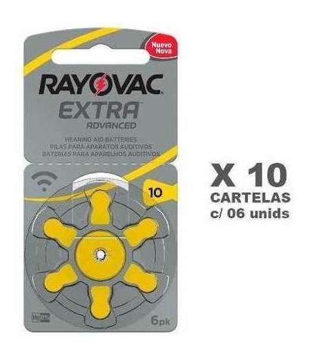 60 Baterias Auditivas Rayovac Tamanho 10