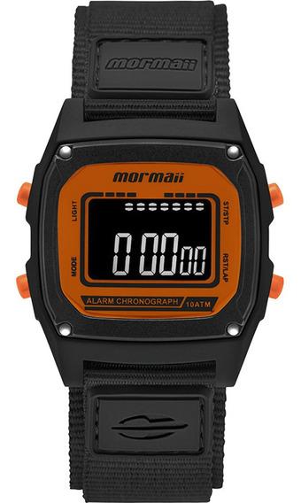 Relógio Masculino Preto E Laranja Digital Mormaii +brinde