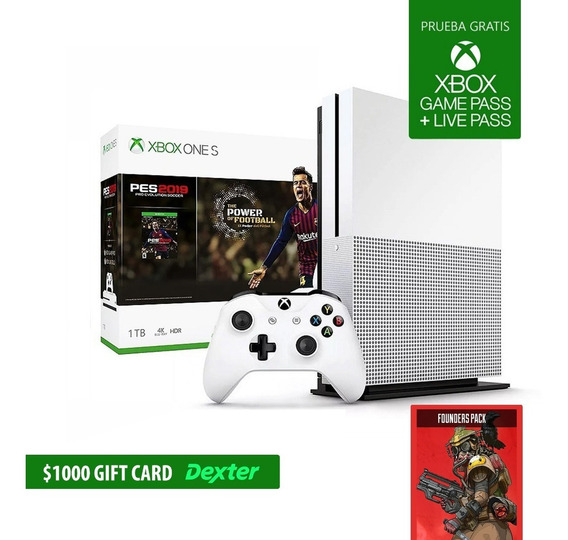 Consola Xbox One S 1tb 4k Ultra Hd + Pes19 + Apex Legends