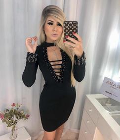 e0019e5e8 Vestido Neoprene Pedraria - Vestidos Curtos no Mercado Livre Brasil