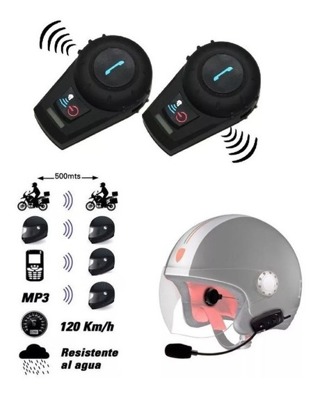 Kit 2 Intercomunicadores Moto Cascos Inalambricos Bluetooth