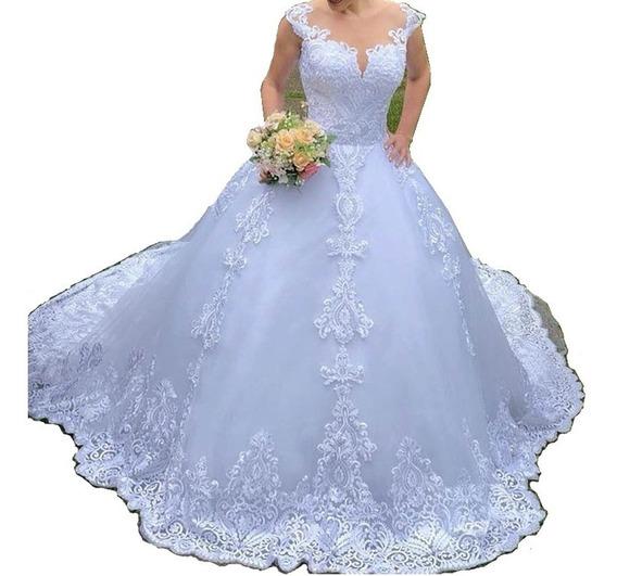 Nb19 Vestido De Noiva Renda Cauda Brilho Decote Luxo Promo