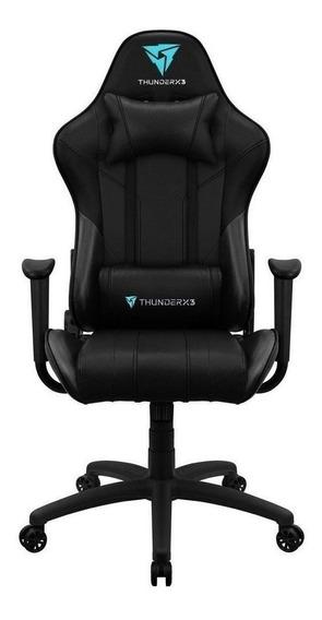 Cadeira de escritório Thunderx3 EC3 ergonômica black con estofado do couro sintético
