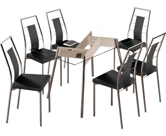 Conjunto Sala De Jantar Carraro Com 6 Cadeiras Em Aço Cromado - Austin