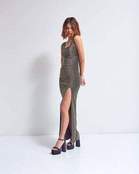 Vestido Highlight Gold Largo Tubo De Lúrex Mujer 47street