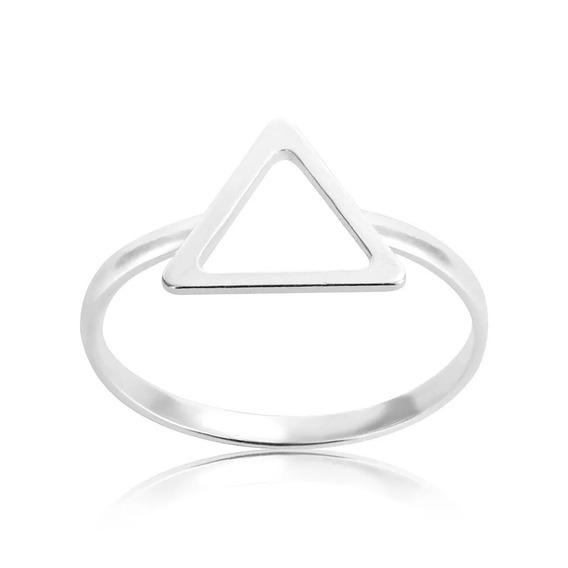 Anel De Prata 925 Geométrico Triângulo Vazado Aro 16 Mod 2