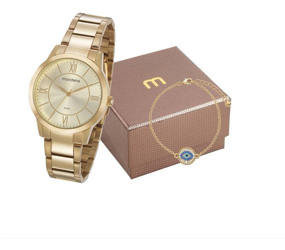 Relógio Mondaine Feminino Dourado 53698lpmgde1k C/kit + Nf