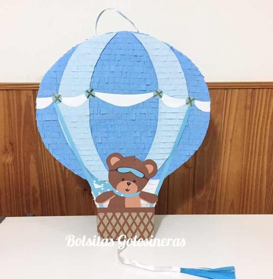 Piñata Globo Aerostático Osito Oso Artesanal Personalizada