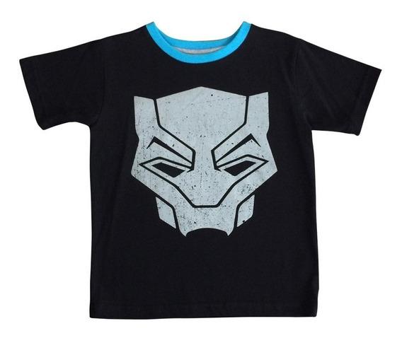 Playera Insignia Black Panther Marvel Oficial Para Niños