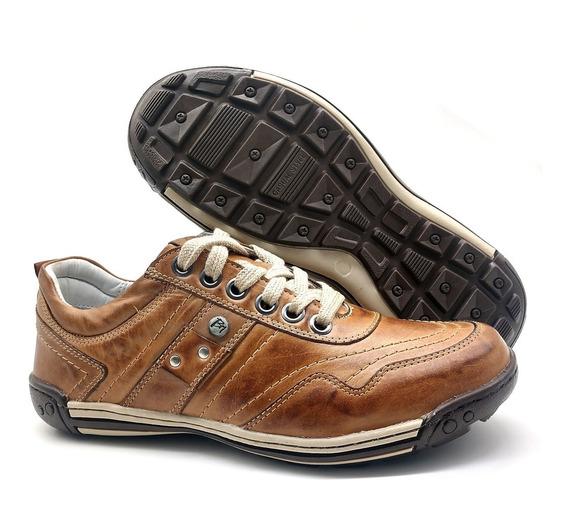 Tênis Sapato Casual Ortopédico Couro Masculino Extra Leve