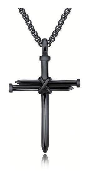 Colar Cordao Corrente Masculina Aço Inox Prego Crucifixo