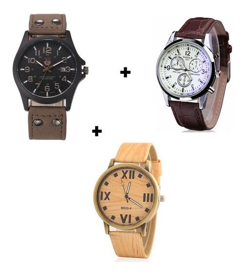 Kit Relógios Masculinos Modernos Clássicos Promoção Barato