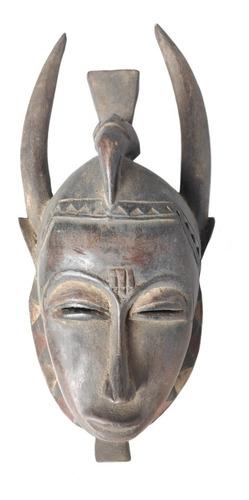 Máscara Africana Yaouré De Madeira Decorativa