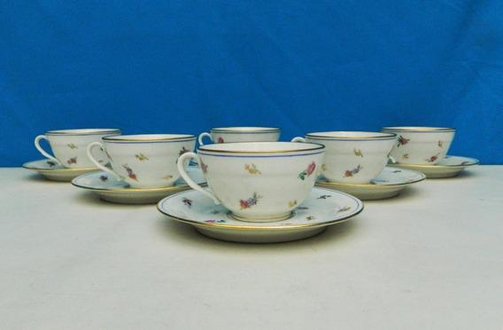 Juego 6 Tazas Para Té De Porcelana Limoges Chastagner Cie