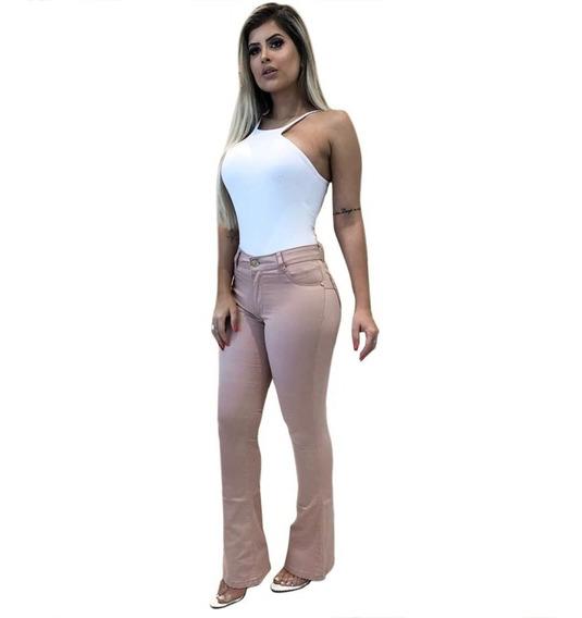 Calça Jeans Flare Boca De Sino Rosa Envelhecido Cós Alto