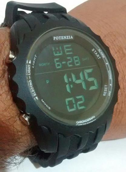 Relógio Digital Esportivo Fundo Escuro Cronômetro Luz Barato