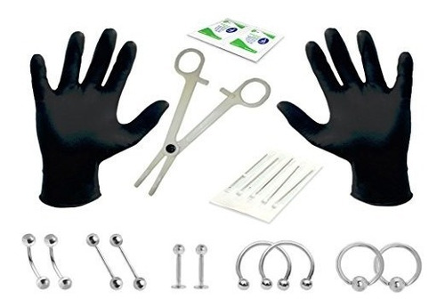 Imagen 1 de 9 de Kit Para Hacer Perforaciones Y Piercings En Acero Inoxidable