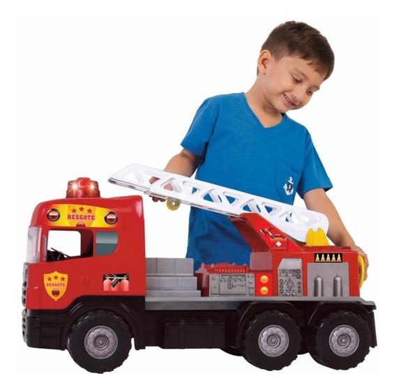 Caminhão De Brinquedo Grande Bombeiro Com Luz E Som 5056