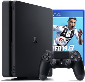 Sony Playstation 4 Slim 1tb + Fifa 19 Jet Black+nota Fiscal!