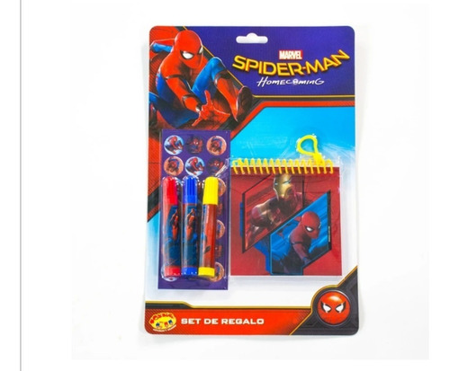 Spiderman Set Regalo Stickers Plumones Para Niños