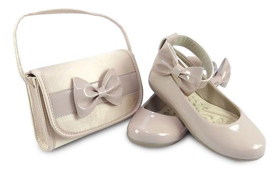 Sapatilha Pink Feminina Infantil Com Bolsa