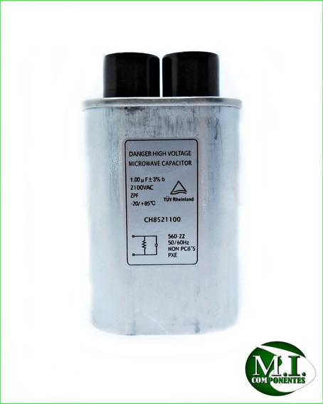 Capacitor Alta Tensão P/forno Microondas 1.00uf 2100v C/6 Ter. Grosso 3+3+ 1 Diodo Duplo 2cl3512h+ts01+ 1 Fusível 20 Amp