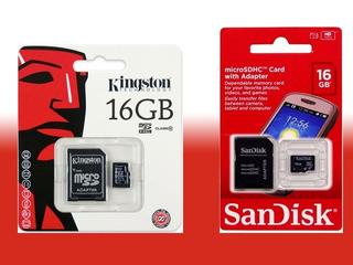 Cartão De Memória Para Celular 16 Gb (giga) Sd Card + Adapta