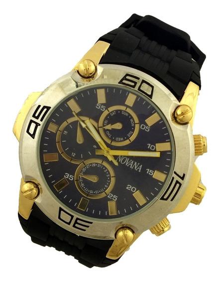 Relógio Masculino Novana Analógico Pulseira Borracha B5728