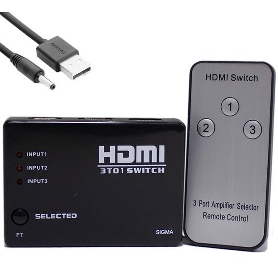 Chaveador Seletor Hub Switch Hdmi 3x1 C/ Controle Barato