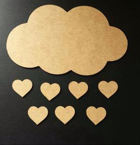 Nuvem Chuva De Amor Mdf Cru Decoração Aplique Parede 25 Cm