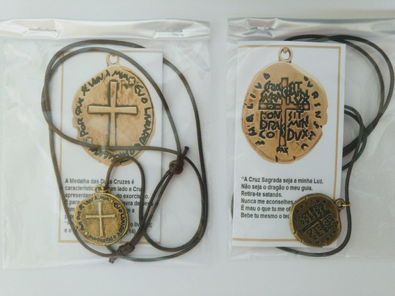 2 Colar Cordão Medalha Das Duas Cruzes Com Oração