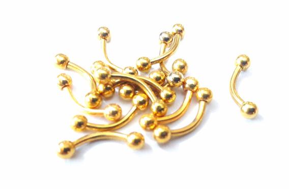 Piercing Dourado Micro Curvo De Tragus Mamilo Sobrancelha