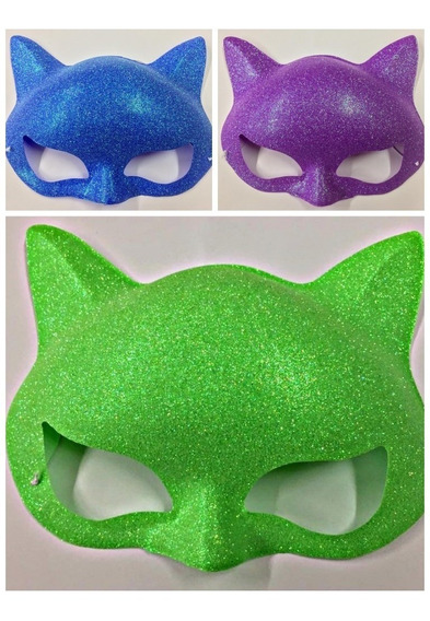 Antifaz Gatita Glitter X12 Uni Brillo Gato Antifaces Gibre