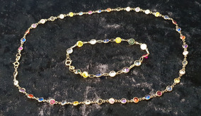 Gargantilha E Pulseira De Ouro Com Pedras Zircônia Coloridas