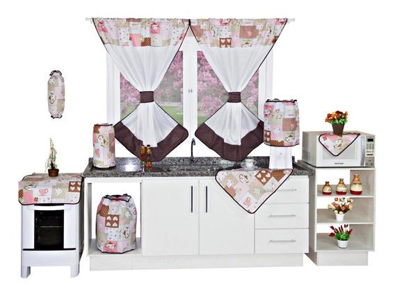 Jogo De Cozinha C/cortina +toalha 6 Cadeiras 11 Pç Isabela