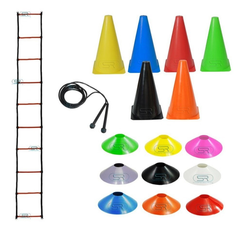 Escada + Corda +10 Pratos +10 Cones P/ Treinamento Funcional